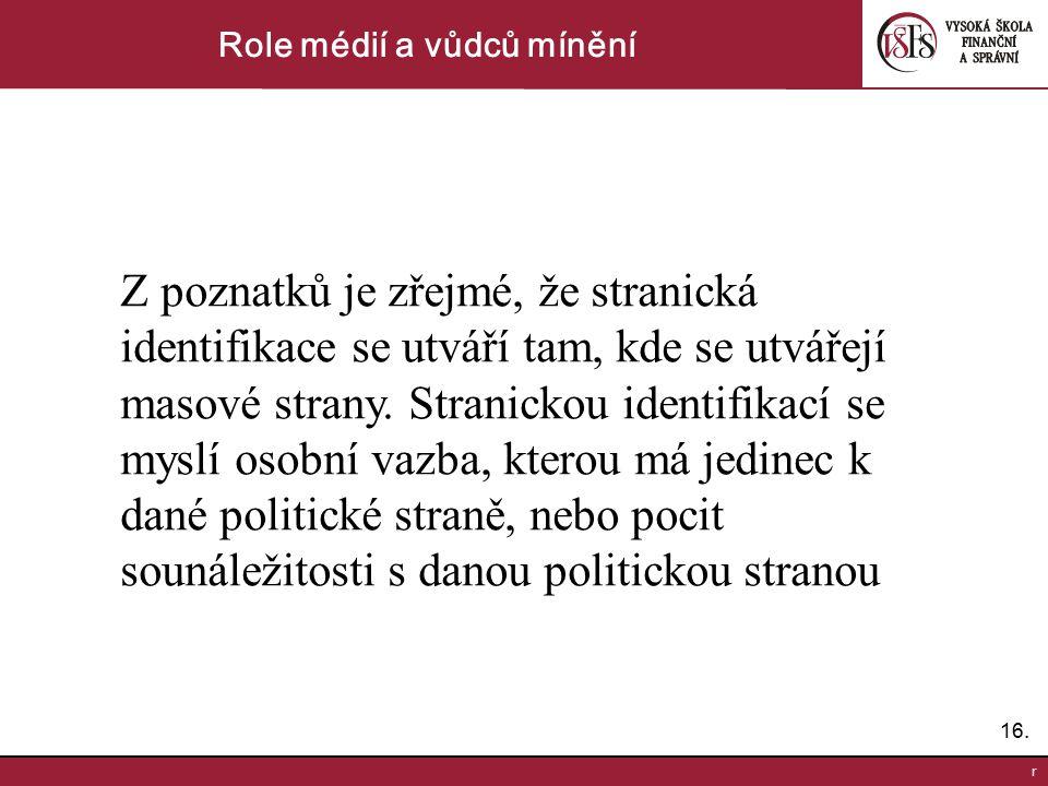 16. r Role médií a vůdců mínění Z poznatků je zřejmé, že stranická identifikace se utváří tam, kde se utvářejí masové strany. Stranickou identifikací