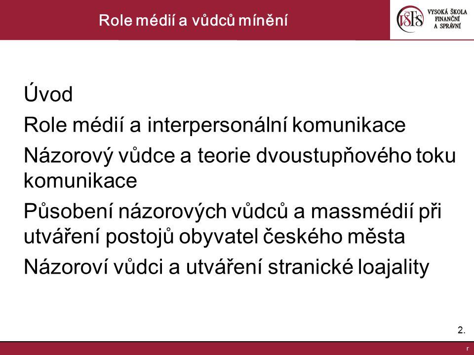 2.2. r Role médií a vůdců mínění Úvod Role médií a interpersonální komunikace Názorový vůdce a teorie dvoustupňového toku komunikace Působení názorový