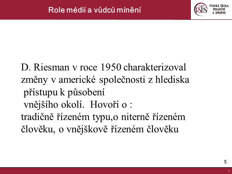 5.5. r Role médií a vůdců mínění D. Riesman v roce 1950 charakterizoval změny v americké společnosti z hlediska přístupu k působení vnějšího okolí. Ho