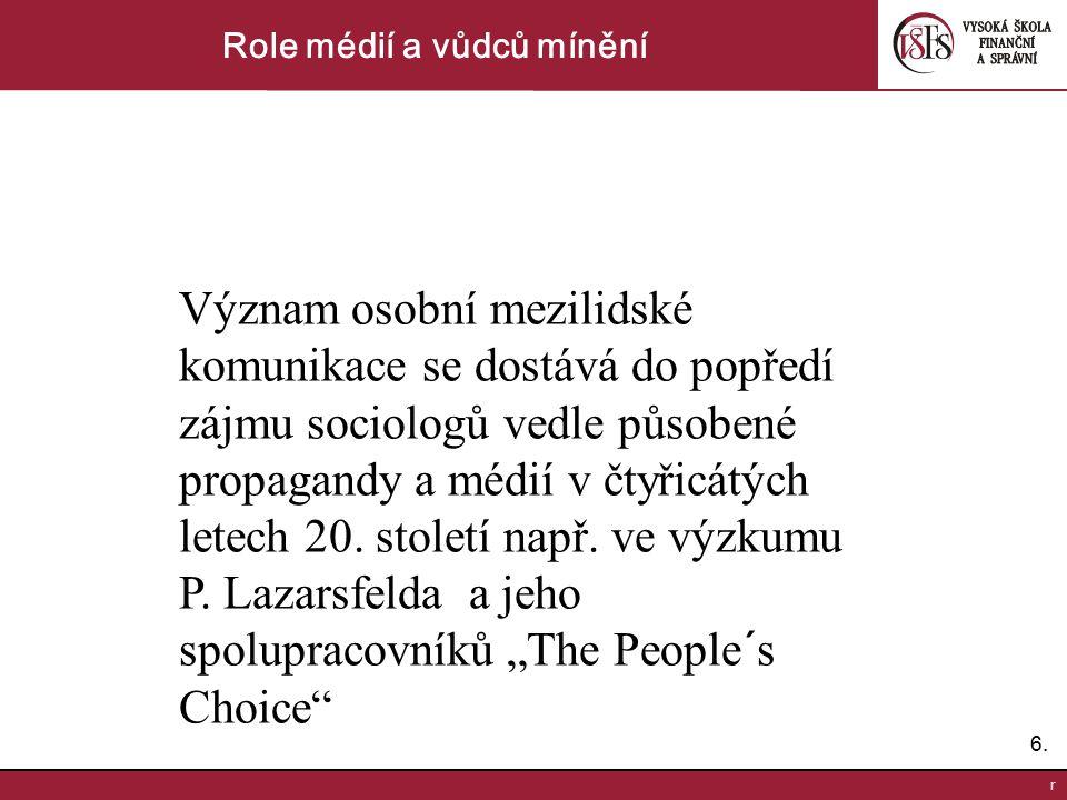 6.6. r Role médií a vůdců mínění Význam osobní mezilidské komunikace se dostává do popředí zájmu sociologů vedle působené propagandy a médií v čtyřicá