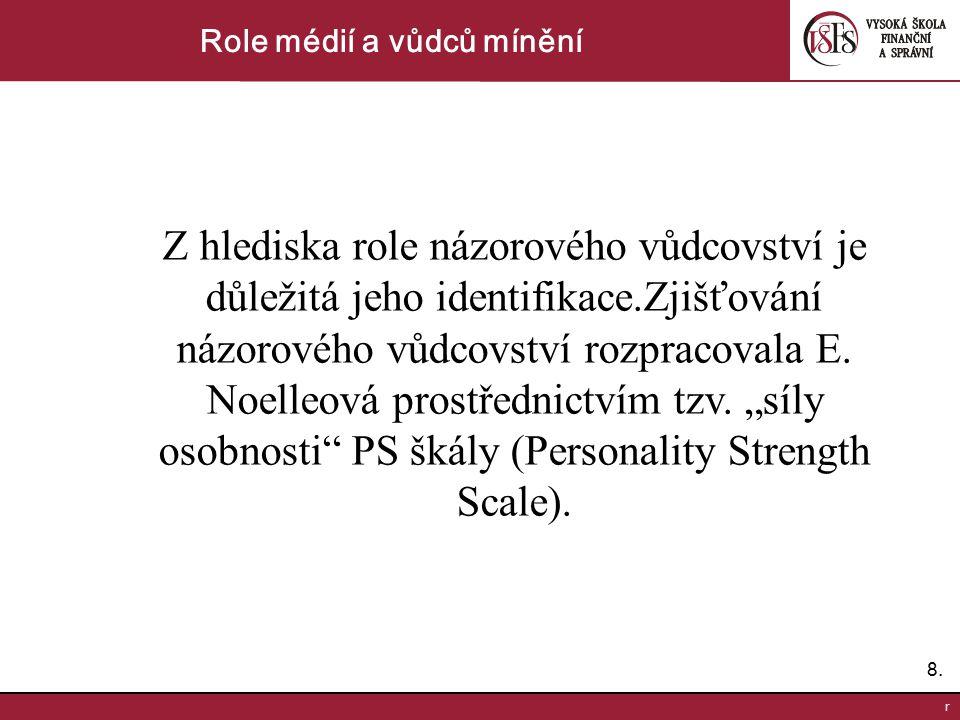 8.8. r Role médií a vůdců mínění Z hlediska role názorového vůdcovství je důležitá jeho identifikace.Zjišťování názorového vůdcovství rozpracovala E.