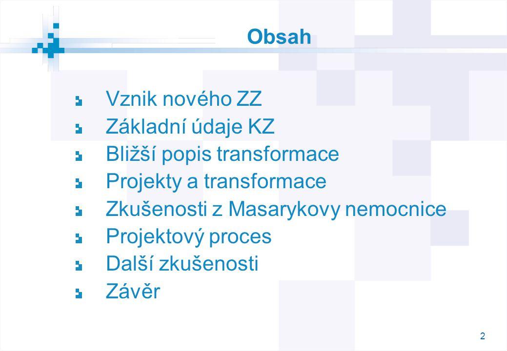 2 Obsah Vznik nového ZZ Základní údaje KZ Bližší popis transformace Projekty a transformace Zkušenosti z Masarykovy nemocnice Projektový proces Další