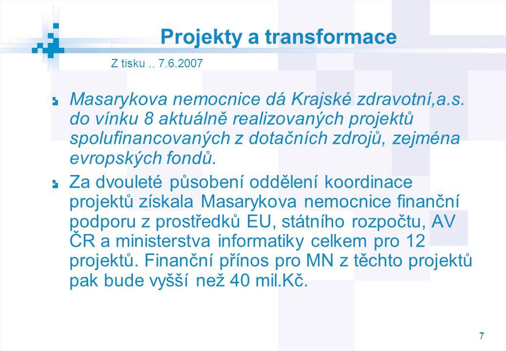 7 Projekty a transformace Masarykova nemocnice dá Krajské zdravotní,a.s. do vínku 8 aktuálně realizovaných projektů spolufinancovaných z dotačních zdr