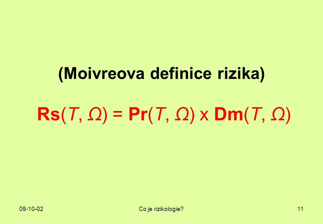 09-10-02Co je rizikologie?11 (Moivreova definice rizika) Rs(T, Ω) = Pr(T, Ω) x Dm(T, Ω)
