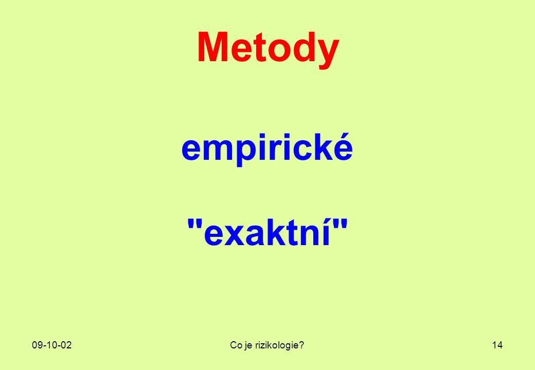 09-10-02Co je rizikologie?14 Metody empirické
