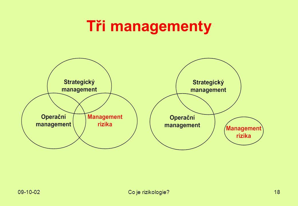 09-10-02Co je rizikologie?18 Tři managementy