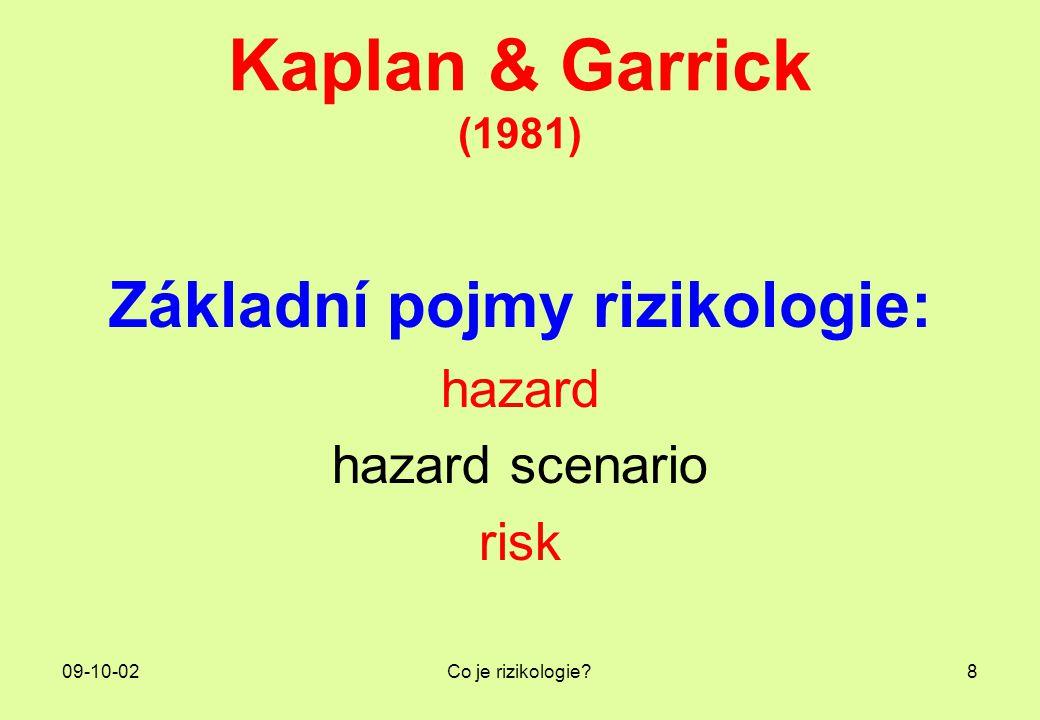 09-10-02Co je rizikologie?8 Kaplan & Garrick (1981) Základní pojmy rizikologie: hazard hazard scenario risk