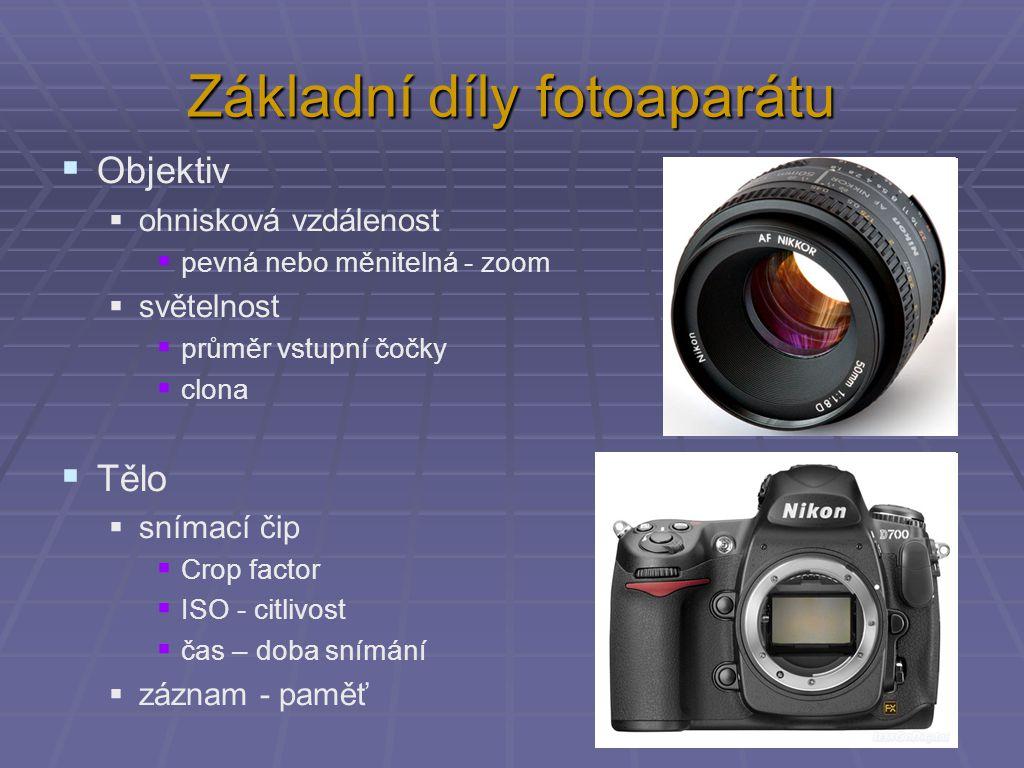 Základní díly fotoaparátu  Objektiv  ohnisková vzdálenost  pevná nebo měnitelná - zoom  světelnost  průměr vstupní čočky  clona  Tělo  snímací čip  Crop factor  ISO - citlivost  čas – doba snímání  záznam - paměť