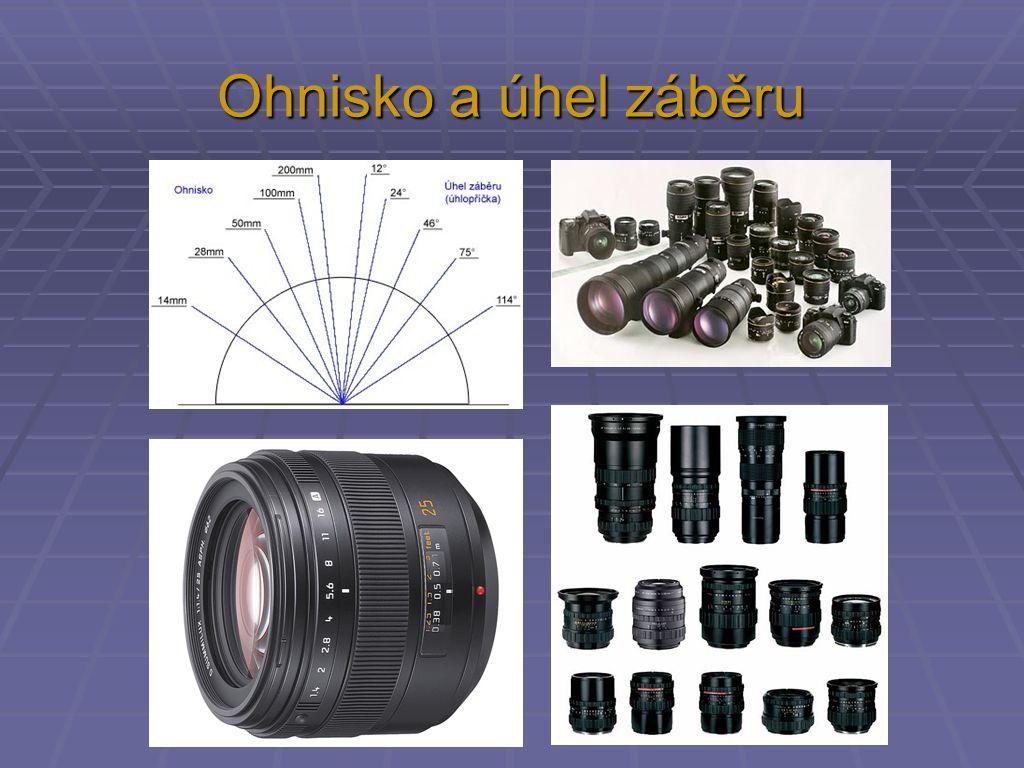 Vlastnosti objektivu Ohnisková vzdálenost - vliv na šířku (úhel) záběru - vzdálení / přiblížení - množství detailů nebo přehled 27 mm 43 mm 100 mm 200 mm 300 mm normální objektiv širokoúhlý objektiv teleobjektivy přepočteno na 35 mm