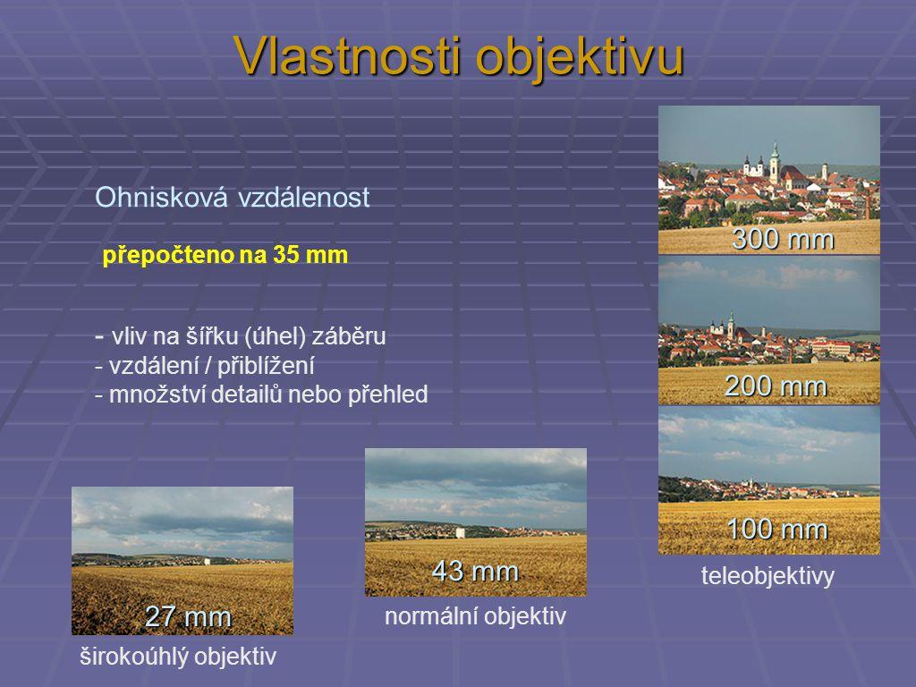 Vlastnosti objektivu Ohnisková vzdálenost - vliv na šířku (úhel) záběru - vzdálení / přiblížení - množství detailů nebo přehled 27 mm 43 mm 100 mm 200
