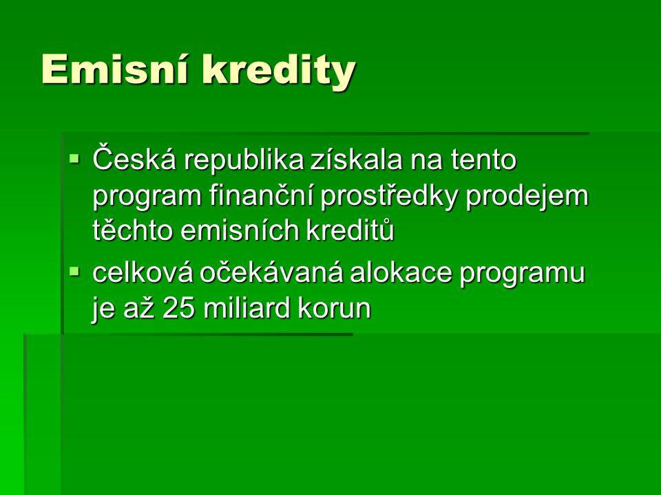 Emisní kredity  Česká republika získala na tento program finanční prostředky prodejem těchto emisních kreditů  celková očekávaná alokace programu je až 25 miliard korun