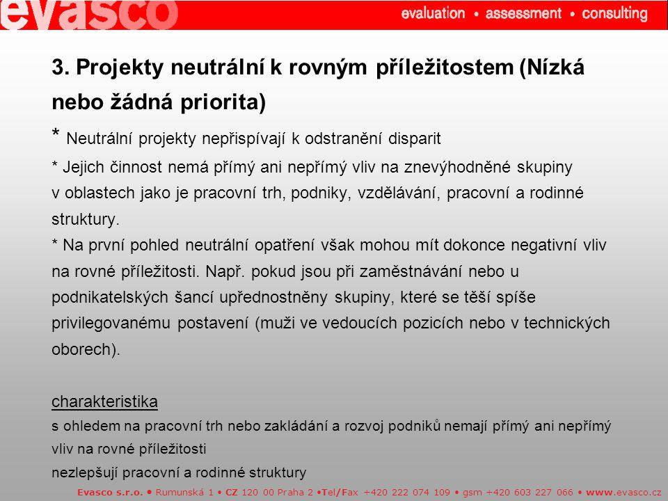 3. Projekty neutrální k rovným příležitostem (Nízká nebo žádná priorita) * Neutrální projekty nepřispívají k odstranění disparit * Jejich činnost nemá