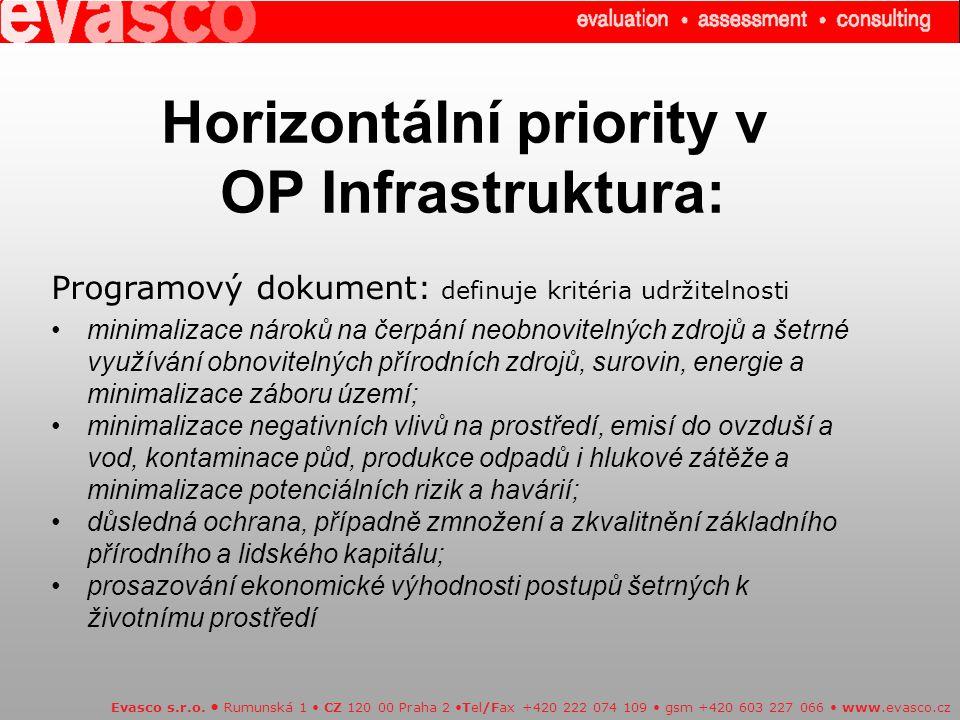 Horizontální priority v OP Infrastruktura: Evasco s.r.o.