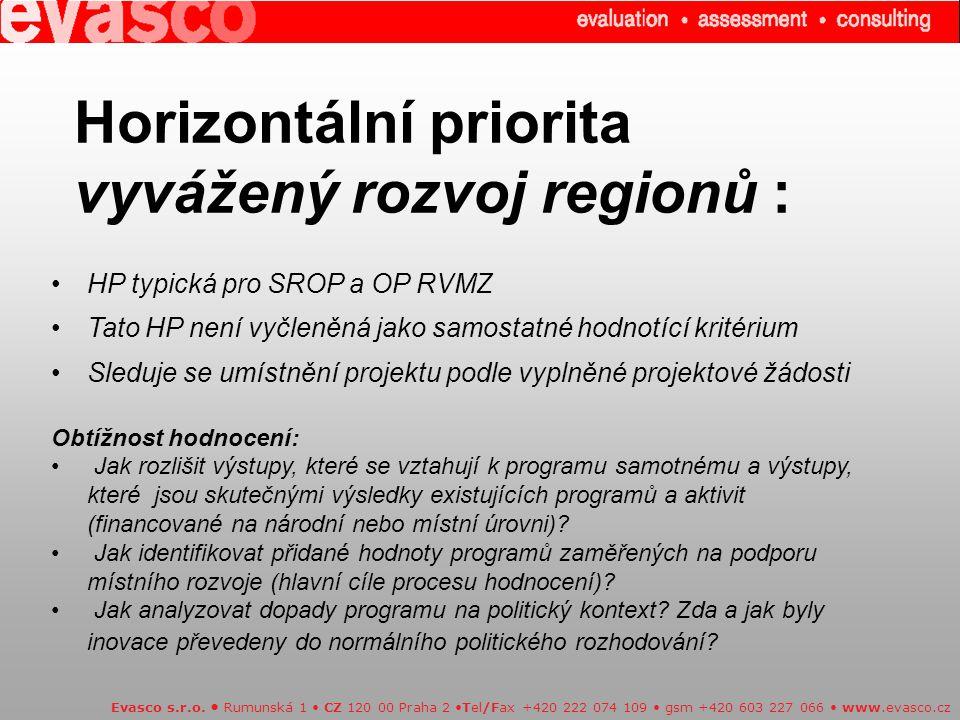 Horizontální priorita vyvážený rozvoj regionů : Evasco s.r.o.