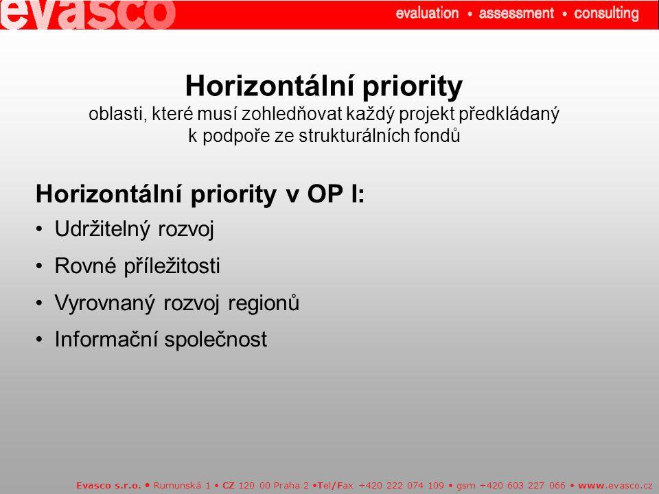 Horizontální priority oblasti, které musí zohledňovat každý projekt předkládaný k podpoře ze strukturálních fondů Evasco s.r.o.