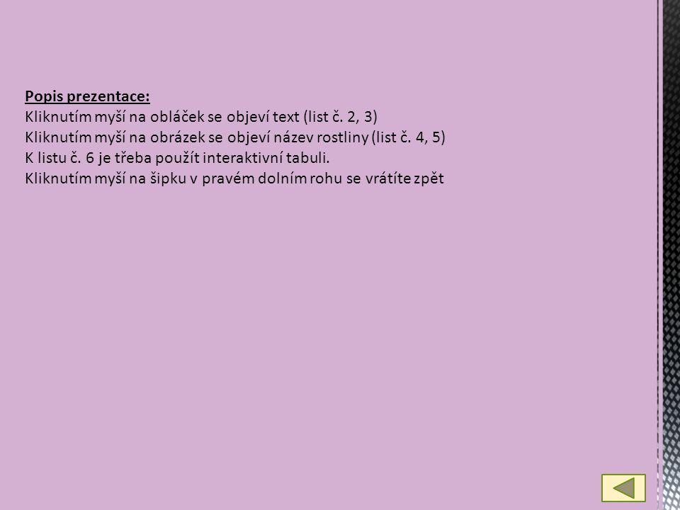 Popis prezentace: Kliknutím myší na obláček se objeví text (list č.