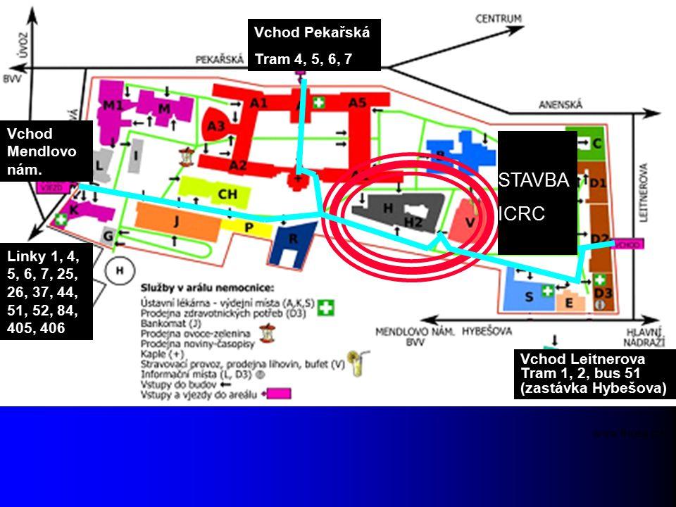 STAVBA ICRC Vchod Pekařská Tram 4, 5, 6, 7 Vchod Leitnerova Tram 1, 2, bus 51 (zastávka Hybešova) Vchod Mendlovo nám. Linky 1, 4, 5, 6, 7, 25, 26, 37,