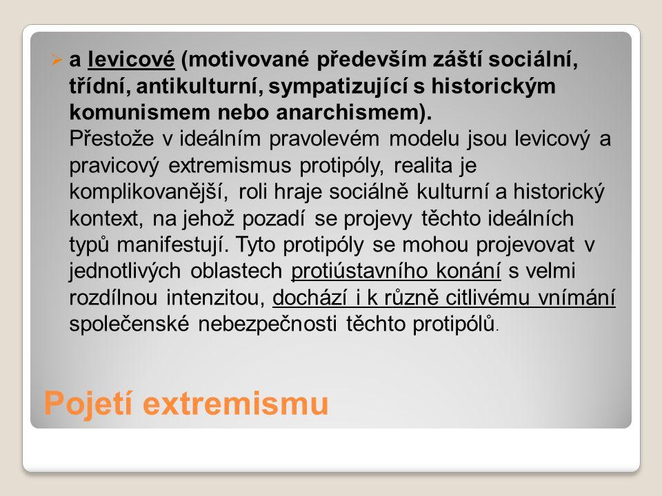 Pojetí extremismu  a levicové (motivované především záští sociální, třídní, antikulturní, sympatizující s historickým komunismem nebo anarchismem). P