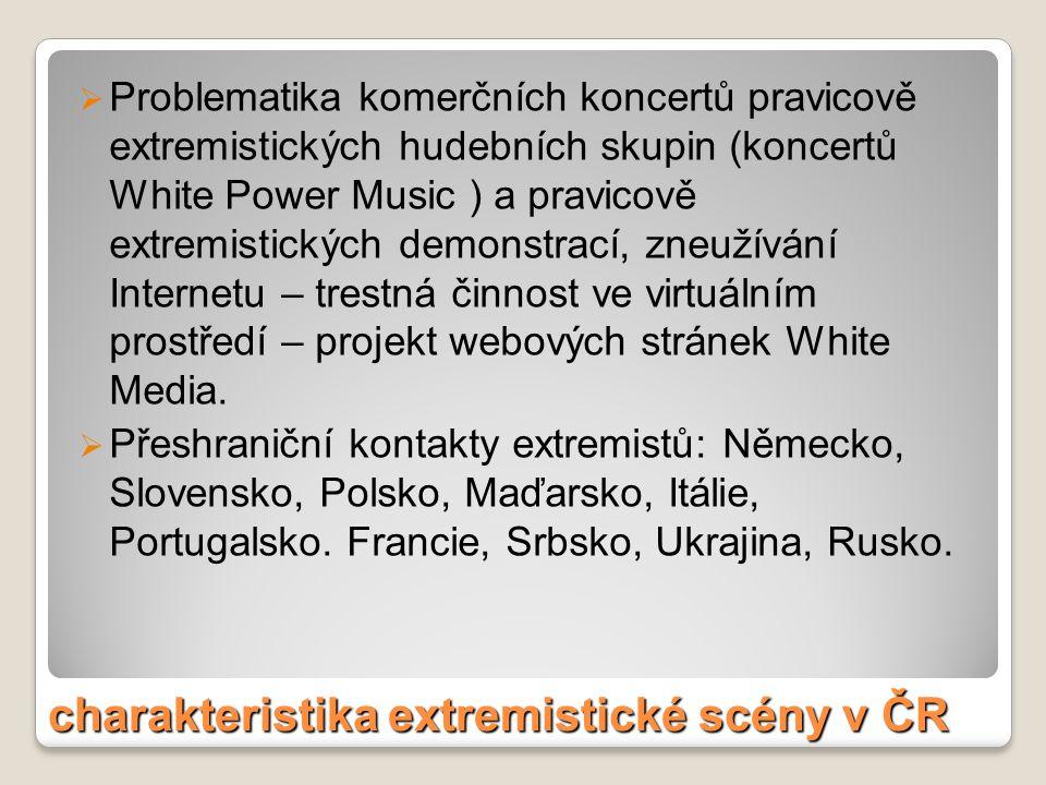 charakteristika extremistické scény v ČR  Problematika komerčních koncertů pravicově extremistických hudebních skupin (koncertů White Power Music ) a