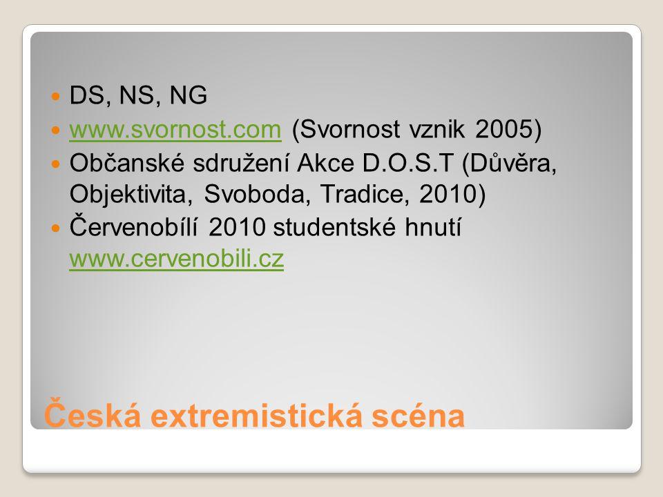 Česká extremistická scéna DS, NS, NG www.svornost.com (Svornost vznik 2005) www.svornost.com Občanské sdružení Akce D.O.S.T (Důvěra, Objektivita, Svob
