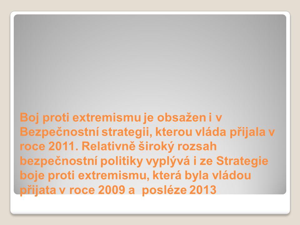 Boj proti extremismu je obsažen i v Bezpečnostní strategii, kterou vláda přijala v roce 2011. Relativně široký rozsah bezpečnostní politiky vyplývá i