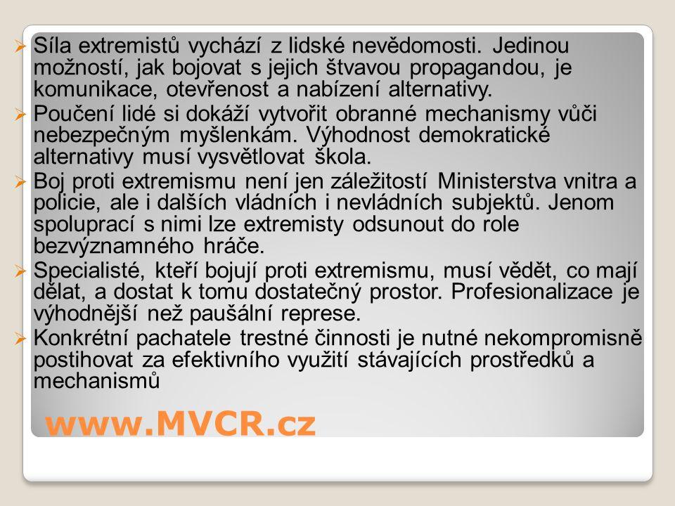 www.MVCR.cz  Síla extremistů vychází z lidské nevědomosti. Jedinou možností, jak bojovat s jejich štvavou propagandou, je komunikace, otevřenost a na