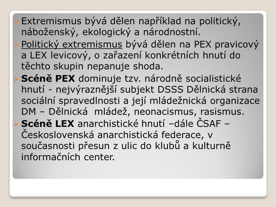  Extremismus bývá dělen například na politický, náboženský, ekologický a národnostní.  Politický extremismus bývá dělen na PEX pravicový a LEX levic