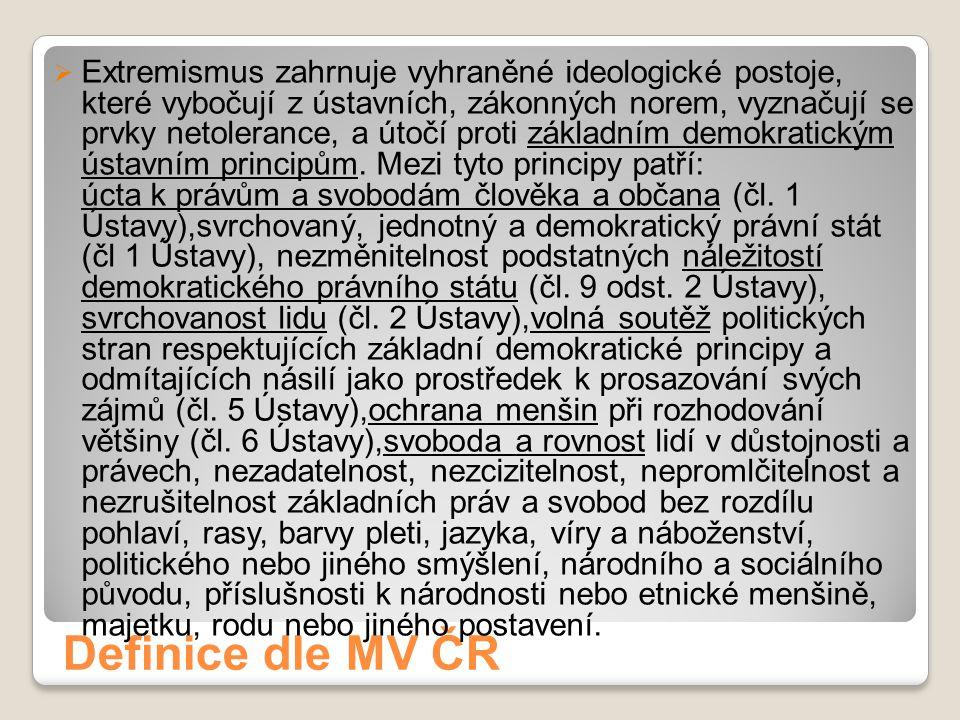 Definice dle MV ČR  Extremismus zahrnuje vyhraněné ideologické postoje, které vybočují z ústavních, zákonných norem, vyznačují se prvky netolerance,
