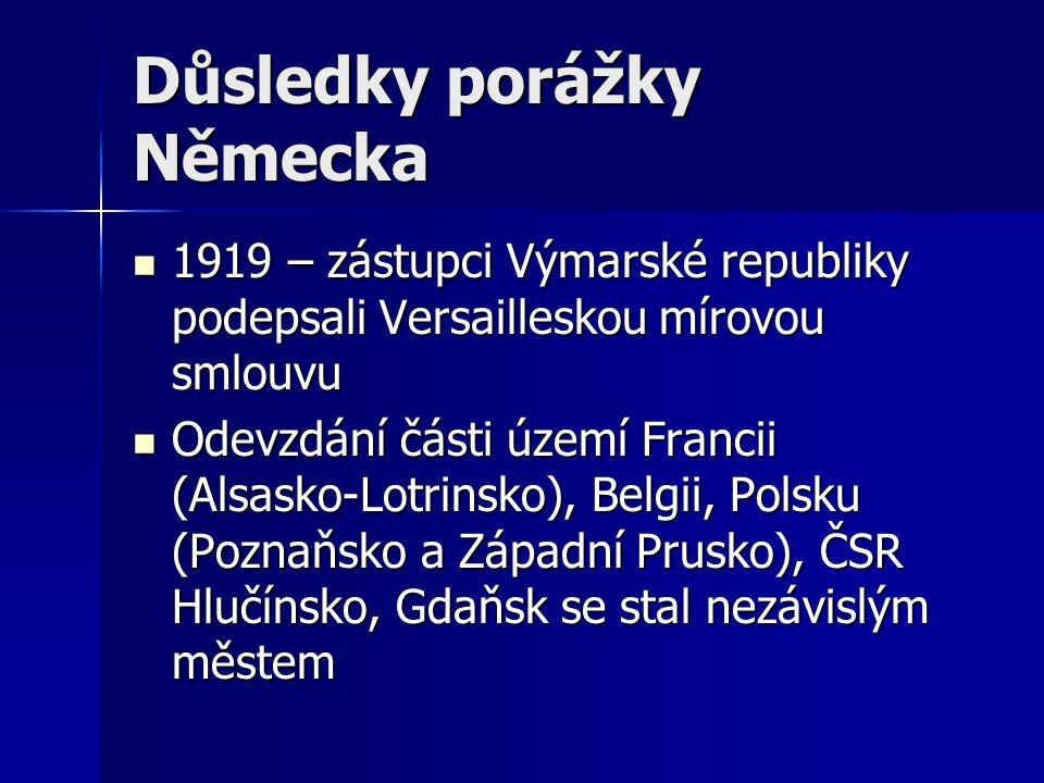 Důsledky porážky Německa 1919 – zástupci Výmarské republiky podepsali Versailleskou mírovou smlouvu 1919 – zástupci Výmarské republiky podepsali Versa