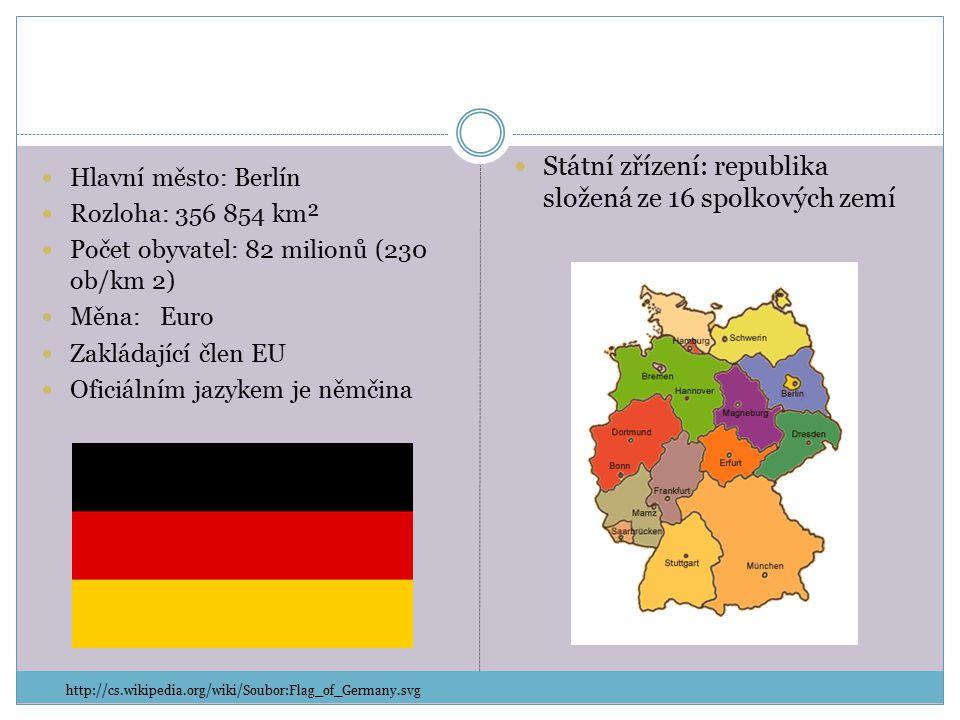 Hlavní město: Berlín Rozloha: 356 854 km² Počet obyvatel: 82 milionů (230 ob/km 2) Měna: Euro Zakládající člen EU Oficiálním jazykem je němčina Státní zřízení: republika složená ze 16 spolkových zemí http://cs.wikipedia.org/wiki/Soubor:Flag_of_Germany.svg