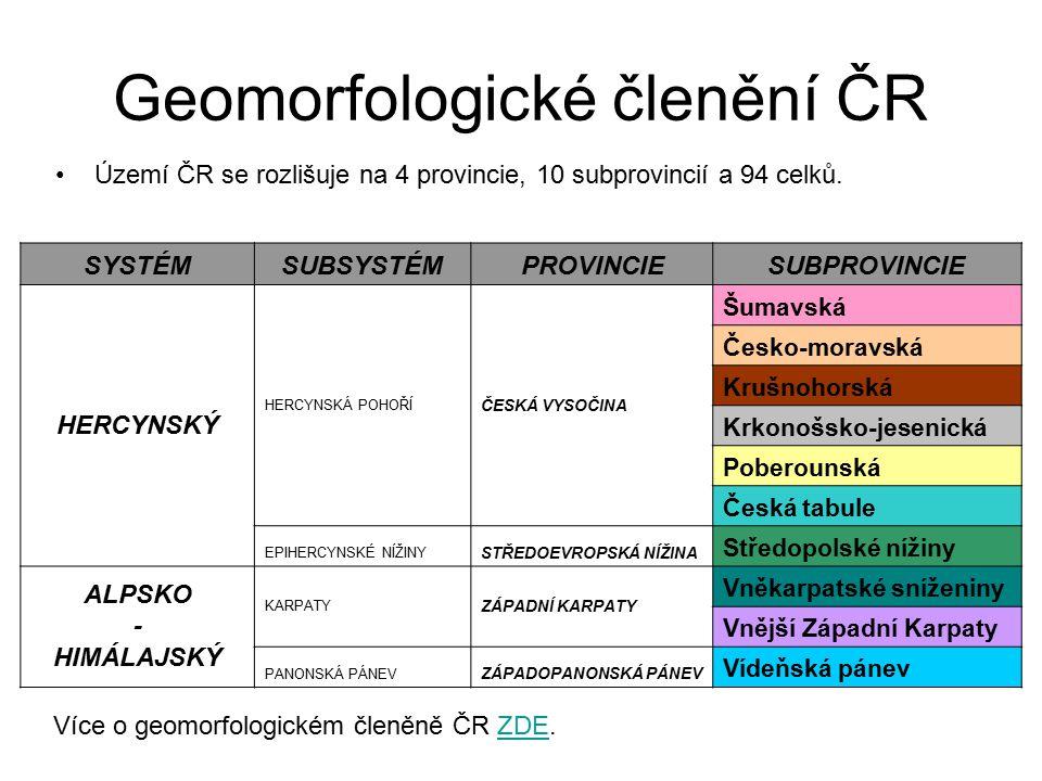 Geomorfologické členění ČR Území ČR se rozlišuje na 4 provincie, 10 subprovincií a 94 celků.