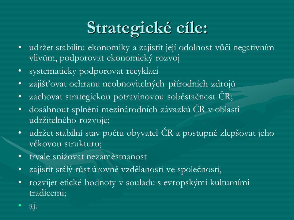 Strategické cíle: udržet stabilitu ekonomiky a zajistit její odolnost vůči negativním vlivům, podporovat ekonomický rozvoj systematicky podporovat rec