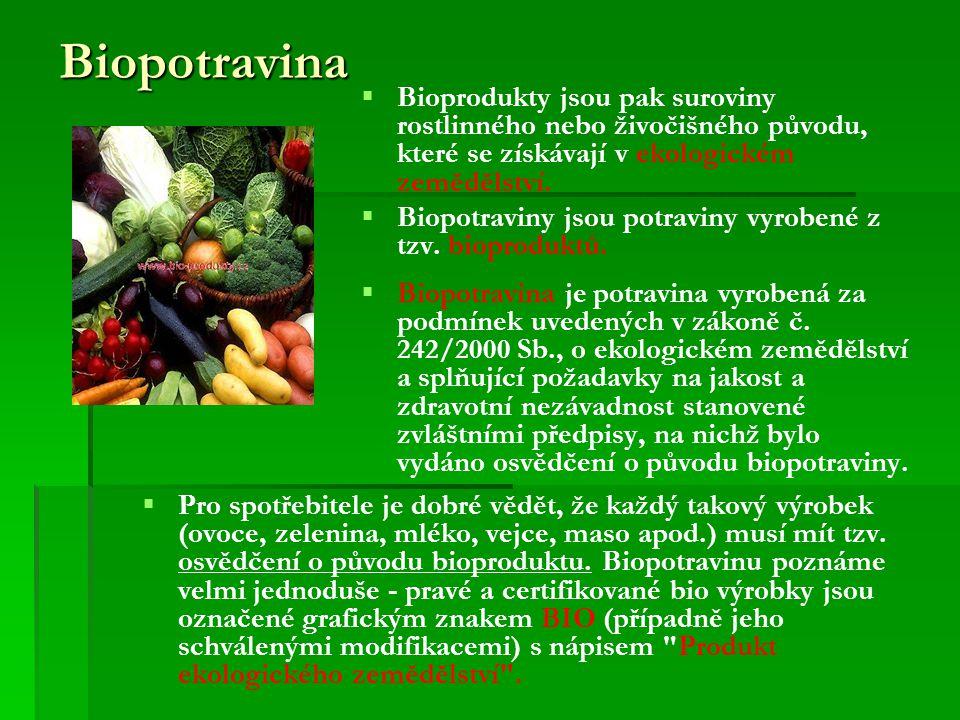 Biopotravina   Bioprodukty jsou pak suroviny rostlinného nebo živočišného původu, které se získávají v ekologickém zemědělství.   Biopotraviny jso