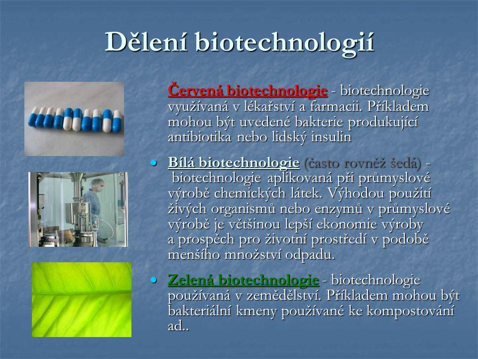 Dělení biotechnologií Červená biotechnologie - biotechnologie využívaná v lékařství a farmacii. Příkladem mohou být uvedené bakterie produkující antib