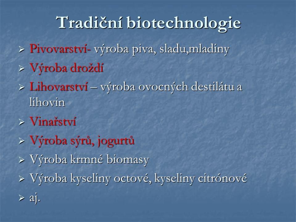 Tradiční biotechnologie  Pivovarství- výroba piva, sladu,mladiny  Výroba droždí  Lihovarství – výroba ovocných destilátu a lihovin  Vinařství  Vý