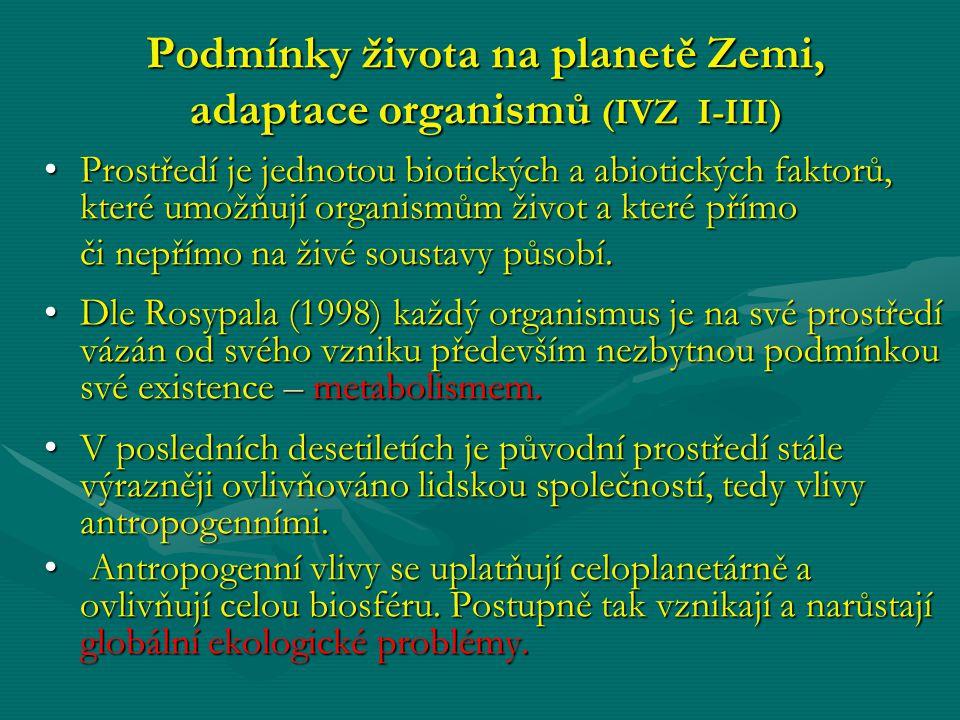 Podmínky života na planetě Zemi, adaptace organismů (IVZ I-III) Prostředí je jednotou biotických a abiotických faktorů, které umožňují organismům živo