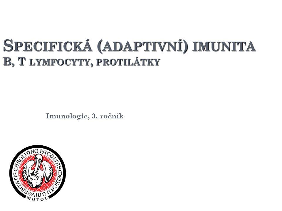 S PECIFICKÁ ( ADAPTIVNÍ ) IMUNITA B, T LYMFOCYTY, PROTILÁTKY Imunologie, 3. ročník