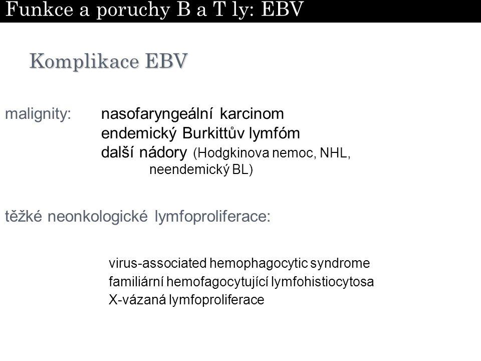 Komplikace EBV virus-associated hemophagocytic syndrome X-vázaná lymfoproliferace familiární hemofagocytující lymfohistiocytosa těžké neonkologické ly