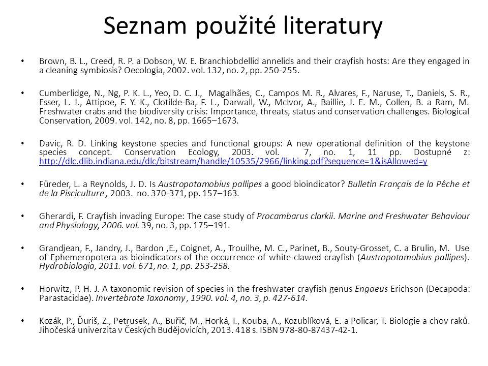 Seznam použité literatury Brown, B. L., Creed, R.