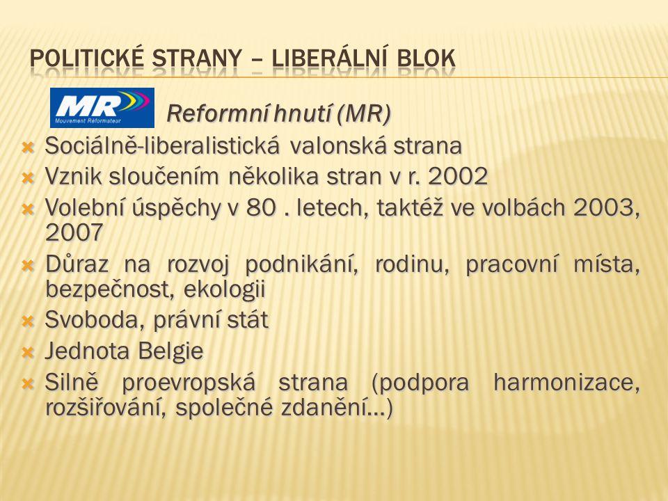 Reformní hnutí (MR) Reformní hnutí (MR)  Sociálně-liberalistická valonská strana  Vznik sloučením několika stran v r. 2002  Volební úspěchy v 80. l
