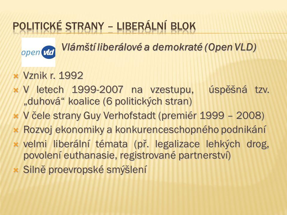 """Vlámští liberálové a demokraté (Open VLD) Vlámští liberálové a demokraté (Open VLD)  Vznik r. 1992  V letech 1999-2007 na vzestupu, úspěšná tzv. """"du"""