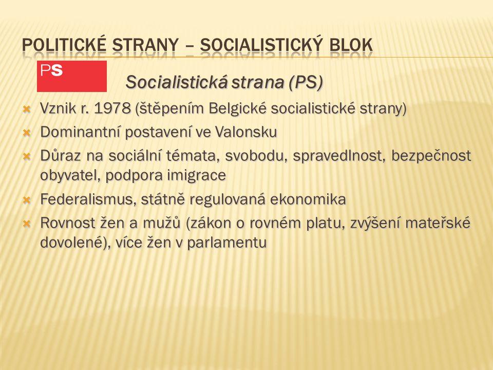 Socialistická strana (PS) Socialistická strana (PS)  Vznik r. 1978 (štěpením Belgické socialistické strany)  Dominantní postavení ve Valonsku  Důra