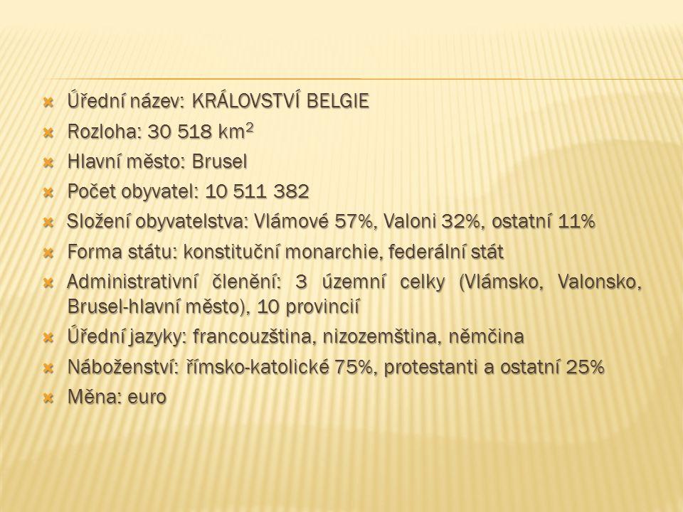  Úřední název: KRÁLOVSTVÍ BELGIE  Rozloha: 30 518 km 2  Hlavní město: Brusel  Počet obyvatel: 10 511 382  Složení obyvatelstva: Vlámové 57%, Valo