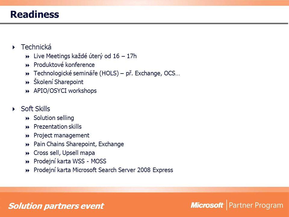 Solution partners event Readiness  Technická  Live Meetings každé úterý od 16 – 17h  Produktové konference  Technologické semináře (HOLS) – př.