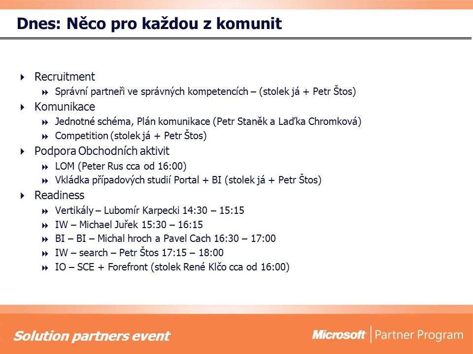 Solution partners event Dnes: Něco pro každou z komunit  Recruitment  Správní partneři ve správných kompetencích – (stolek já + Petr Štos)  Komunik