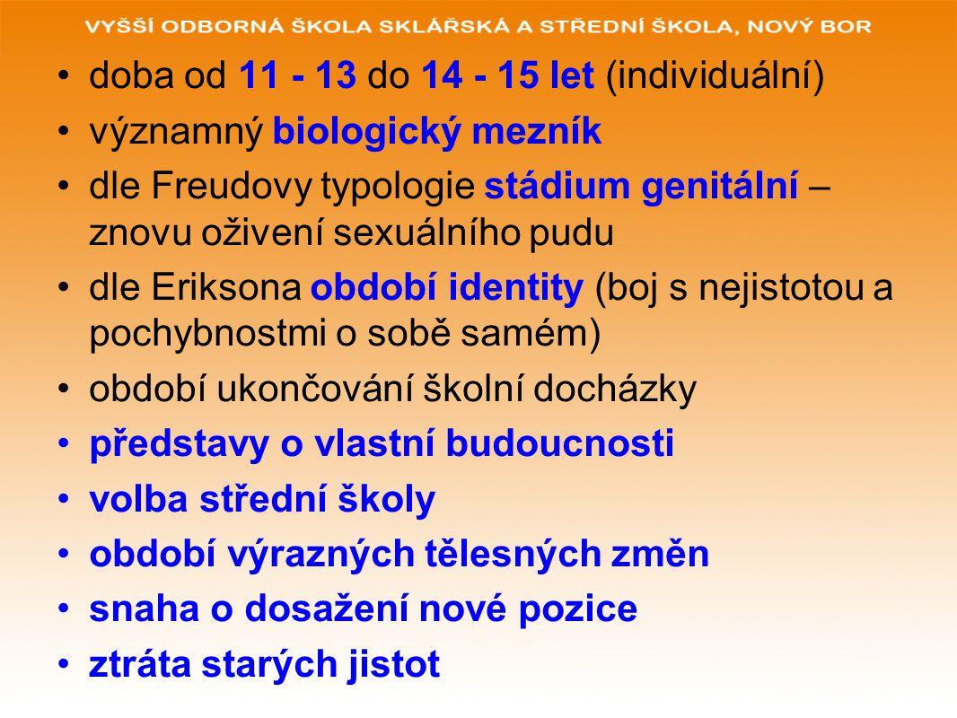 doba od 11 - 13 do 14 - 15 let (individuální) významný biologický mezník dle Freudovy typologie stádium genitální – znovu oživení sexuálního pudu dle Eriksona období identity (boj s nejistotou a pochybnostmi o sobě samém) období ukončování školní docházky představy o vlastní budoucnosti volba střední školy období výrazných tělesných změn snaha o dosažení nové pozice ztráta starých jistot
