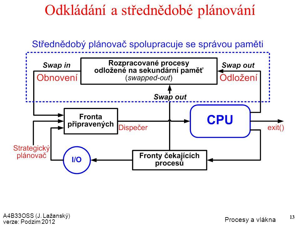 A4B33OSS (J. Lažanský) verze: Podzim 2012 Procesy a vlákna 13 Odkládání a střednědobé plánování