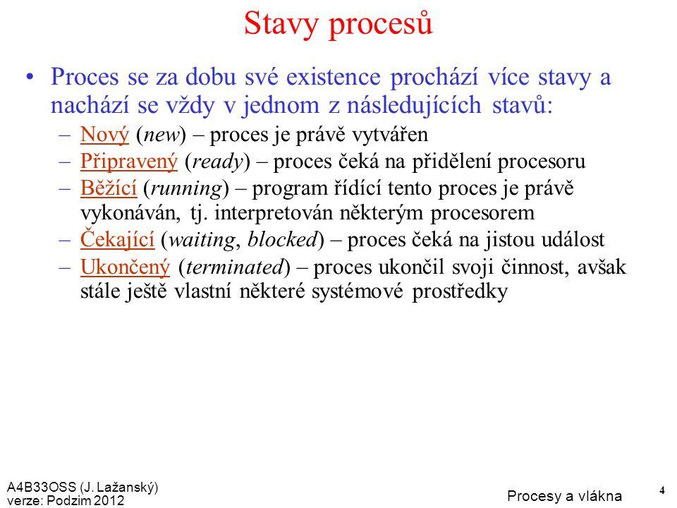 A4B33OSS (J. Lažanský) verze: Podzim 2012 Procesy a vlákna 45 Dotazy