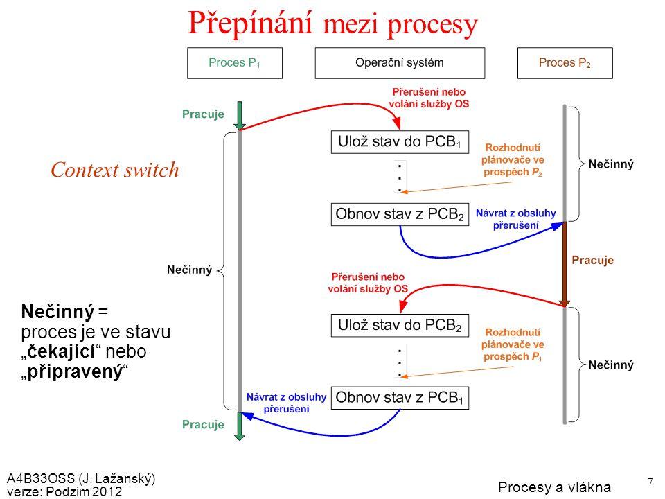 A4B33OSS (J. Lažanský) verze: Podzim 2012 Procesy a vlákna 28 Procesy a vlákna