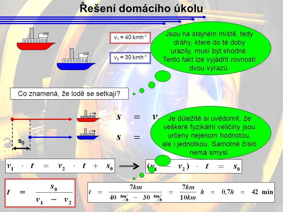 Řešení domácího úkolu v 1 = 40 kmh -1 v 2 = 30 kmh -1 Kdy se střetnou.